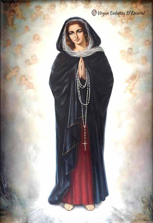Cuadro Virgen Dolorosa apariciones de el escorial rosario quince misterios