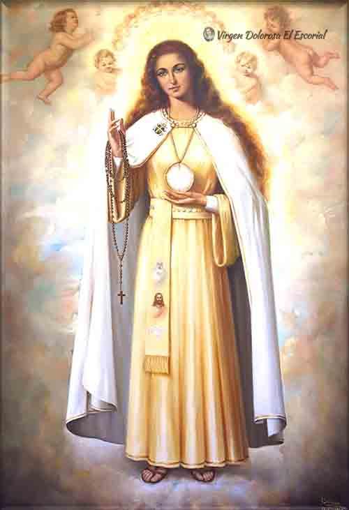 Cuadro Virgen Gloriosa apariciones de el escorial rosario quince misterios